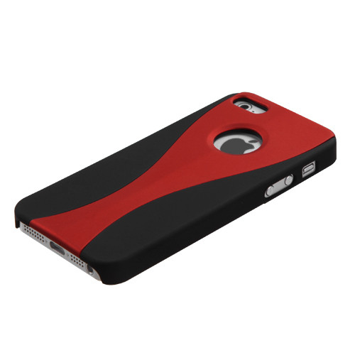 MyBat Wave Back Protector Cover (Rubberized) for Apple iPhone 5s/5 - Red / Black