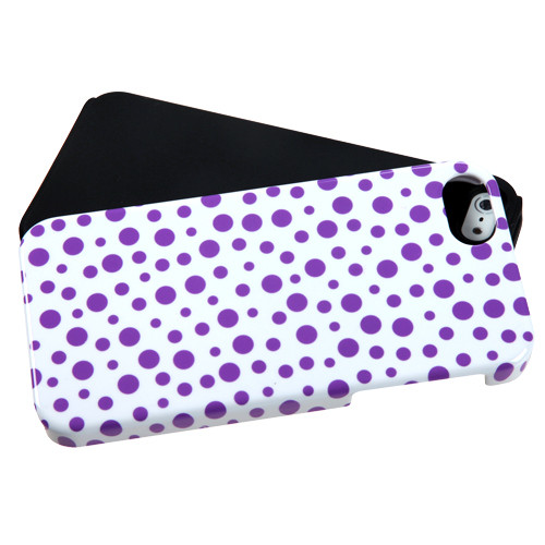 MyBat Fusion Protector Cover for Apple iPhone 5s/5 - Purple Mixed Polka Dots / Black