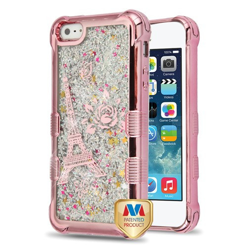 MyBat TUFF Quicksand Glitter Lite Hybrid Protector Cover for Apple iPhone 5s/5 - Rose Gold Electroplating / Eiffel Tower / Silver Flowing Sparkles