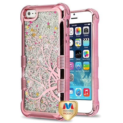 MyBat TUFF Quicksand Glitter Lite Hybrid Protector Cover for Apple iPhone 5s/5 - Rose Gold Electroplating / Maple Vine / Silver Flowing Sparkles