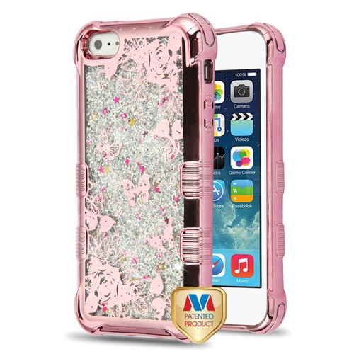 MyBat TUFF Quicksand Glitter Lite Hybrid Protector Cover for Apple iPhone 5s/5 - Rose Gold Electroplating / Butterflies in Rose Garden / Silver Flowing Sparkles