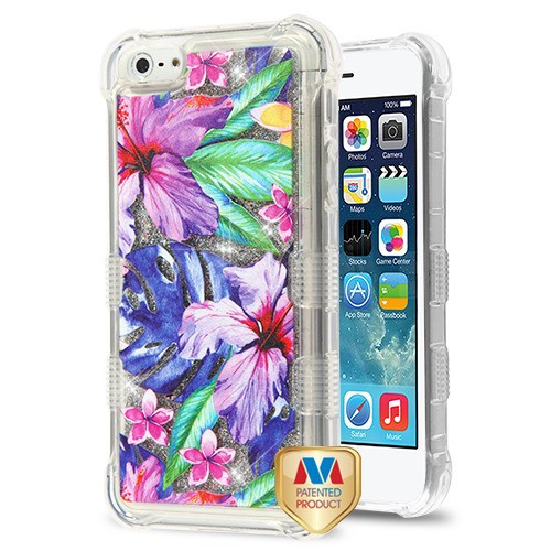 MyBat TUFF Quicksand Glitter Lite Hybrid Protector Cover for Apple iPhone 5s/5 - Watercolor Hibiscus / Silver