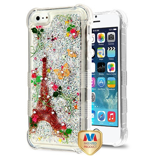 MyBat TUFF Quicksand Glitter Lite Hybrid Protector Cover (with Diamonds) for Apple iPhone 5s/5 - Paris Monarch Butterflies / Silver Flowing Sparkles