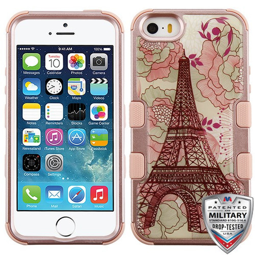 MyBat TUFF Krystal Gel Hybrid Protector Cover [Military-Grade Certified] for Apple iPhone 5s/5 - Eiffel Tower (Rose Gold) / Rose Gold