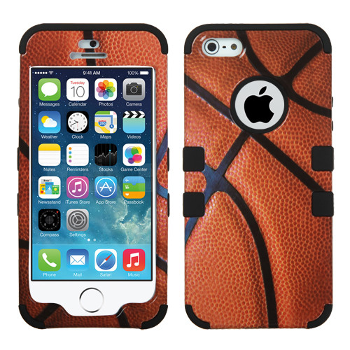 MyBat TUFF Hybrid Protector Cover [Military-Grade Certified] for Apple iPhone 5s/5 - Basketball-Sports Collection / Black