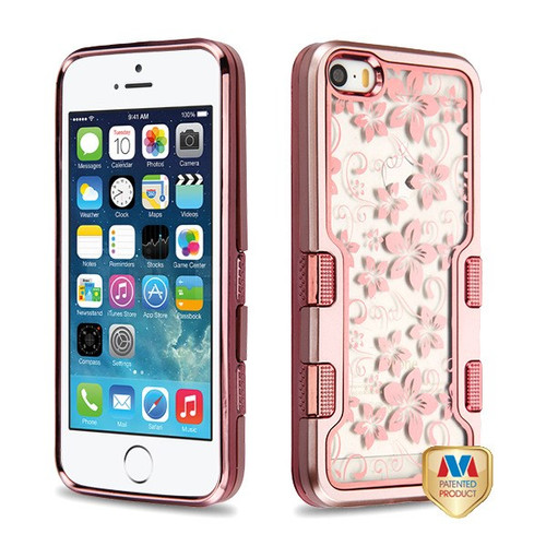MyBat TUFF Panoview Hybrid Protector Cover for Apple iPhone 5s/5 - Metallic Rose Gold / Electroplating Rose Gold Hibiscus Flower (Transparent Clear)