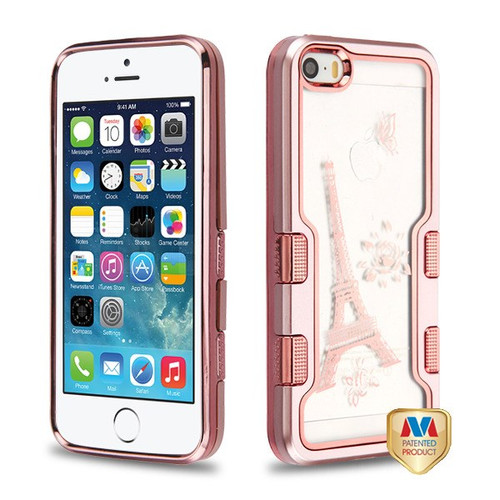 MyBat TUFF Panoview Hybrid Protector Cover for Apple iPhone 5s/5 - Metallic Rose Gold / Electroplating Rose Gold Eiffel Tower (Transparent Clear)
