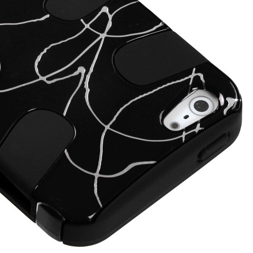 MyBat Fishbone Phone Protector Cover for Apple iPhone 5s/5 - Curved Lines Black / Black