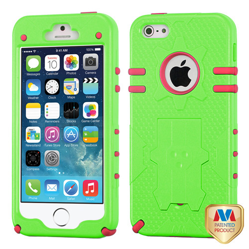 MyBat Phantom Hybrid Protector Cover for Apple iPhone 5s/5 - Natural Pearl Green / Electric Pink