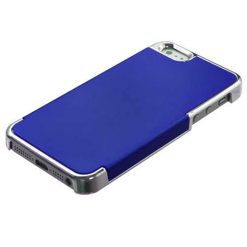 MyBat MyDual Back Protector Cover for Apple iPhone 5s/5 - Titanium Dark Blue / Silver Plating
