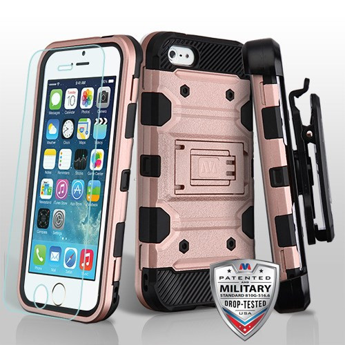 MyBat 3-in-1 Storm Tank Hybrid Protector Cover Combo (with Black Holster)(Tempered Glass Screen Protector)[Military-Grade Certified] for Apple iPhone 5s/5 - Rose Gold / Black