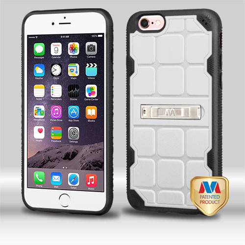 MyBat DefyR Hybrid Protector Cover (with Stand) for Apple iPhone 6s Plus/6 Plus - Natural Cream White / Black