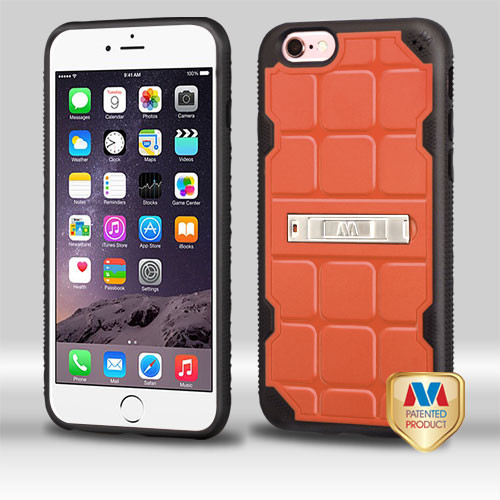 MyBat DefyR Hybrid Protector Cover (with Stand) for Apple iPhone 6s Plus/6 Plus - Natural Orange / Black