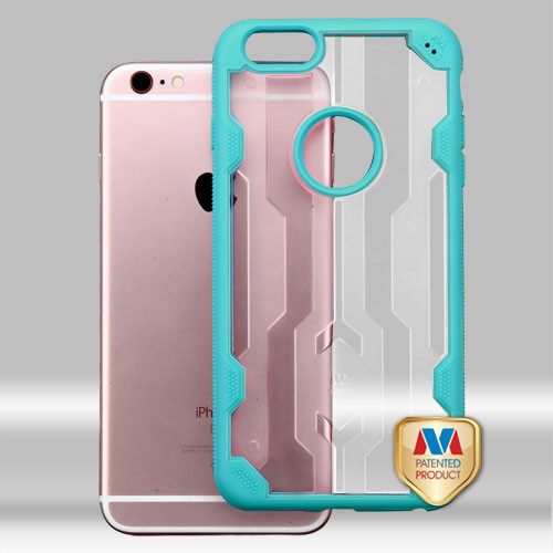 MyBat Challenger Hybrid Protector Cover for Apple iPhone 6s Plus/6 Plus - Transparent Clear / Tropical Teal