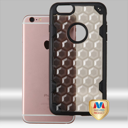 MyBat Challenger Hybrid Protector Cover for Apple iPhone 6s Plus/6 Plus - Transparent Smoke Honeycomb / Black