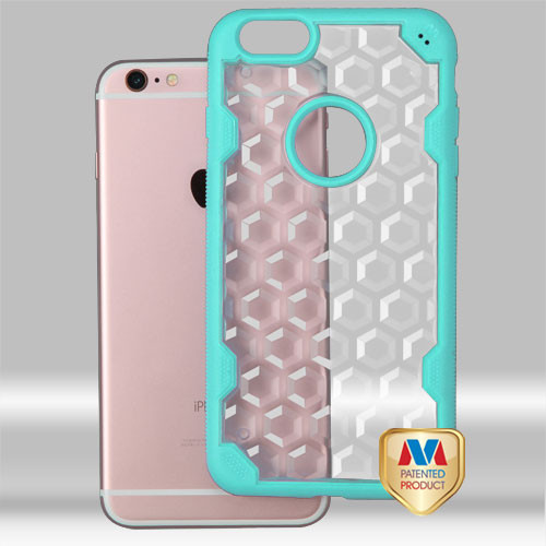 MyBat Challenger Hybrid Protector Cover for Apple iPhone 6s Plus/6 Plus - Transparent Clear Honeycomb / Turquoise