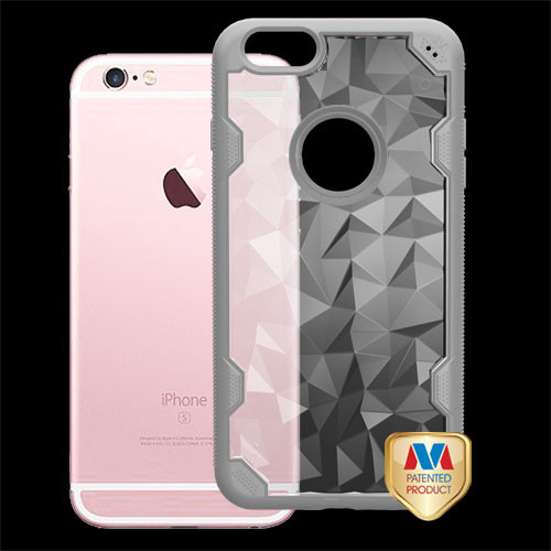 MyBat Challenger Hybrid Protector Cover for Apple iPhone 6s Plus/6 Plus - Transparent Clear Polygon / Iron Gray