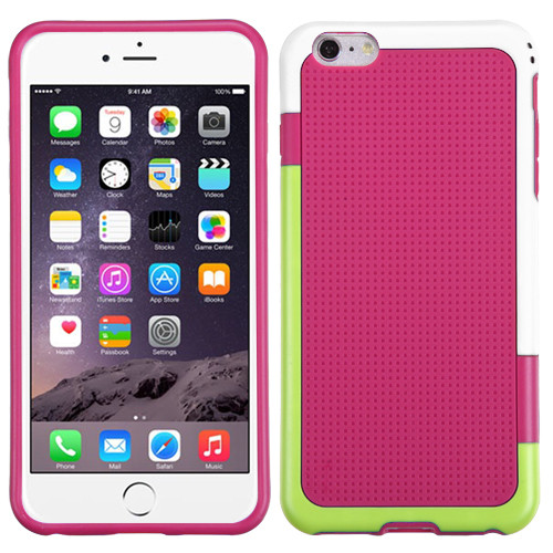 MyBat Gummy Cover for Apple iPhone 6s Plus/6 Plus - (White / Green) / Hot Pink
