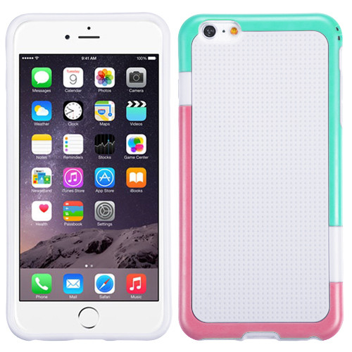 MyBat Gummy Cover for Apple iPhone 6s Plus/6 Plus - (Teal Green / Hot Pink) / White
