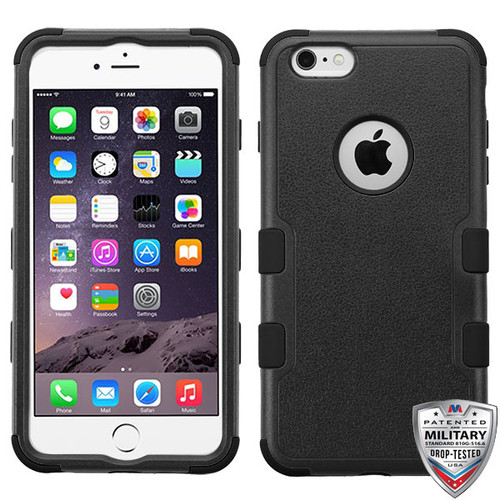 MyBat TUFF Hybrid Protector Cover [Military-Grade Certified] for Apple iPhone 6s Plus/6 Plus - Natural Black / Black