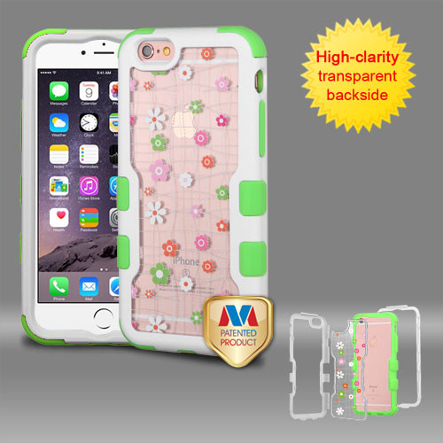 MyBat TUFF Vivid Hybrid Protector Cover for Apple iPhone 6s Plus/6 Plus - Natural Ivory White Frame+Transparent Tiny Blossoms PC Back / Electric Green