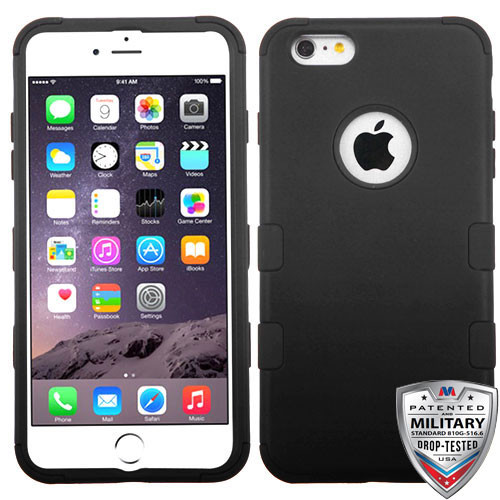 MyBat TUFF Hybrid Protector Cover [Military-Grade Certified] for Apple iPhone 6s Plus/6 Plus - Rubberized Black / Black