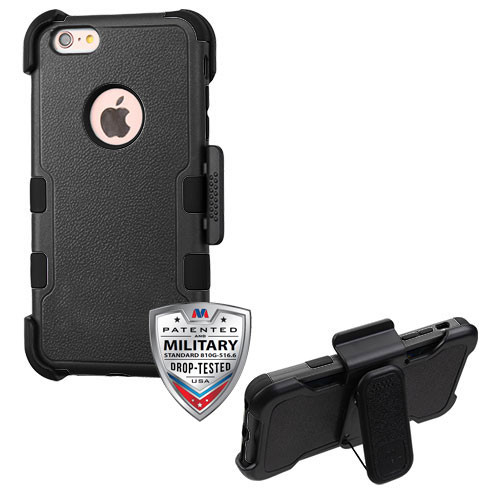 MyBat TUFF Hybrid Protector Case Combo [Military-Grade Certified](with Black Horizontal Holster) for Apple iPhone 6s Plus/6 Plus - Natural Black / Black