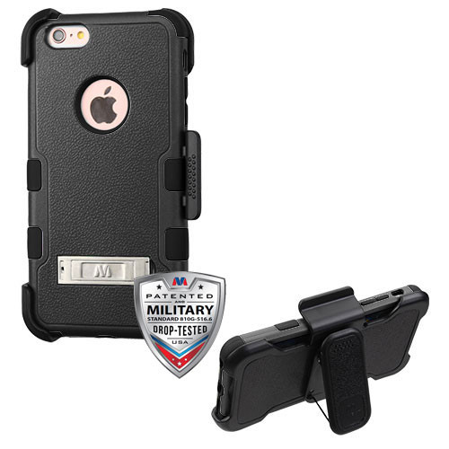 MyBat TUFF Hybrid Protector Case (with Stand)[Military-Grade Certified](with Black Horizontal Holster) for Apple iPhone 6s Plus/6 Plus - Natural Black / Black
