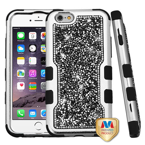 MyBat TUFF Vivid Hybrid Protector Cover for Apple iPhone 6s Plus/6 Plus - Silver Plating Frame+Black Mini Crystals Back / Black