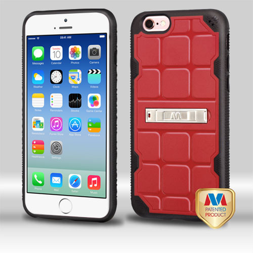 MyBat DefyR Hybrid Protector Cover (with Stand) for Apple iPhone 6s/6 - Natural Red / Black