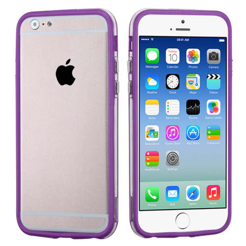 MyBat MyBumper Protector Cover for Apple iPhone 6s/6 - Purple / Transparent Clear