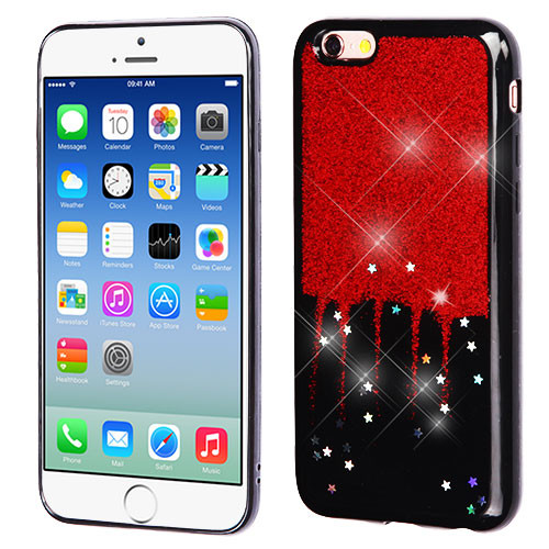 MyBat Krystal Gel Series Candy Skin Cover for Apple iPhone 6s/6 - Red Glittering & Silver Stars (Black)