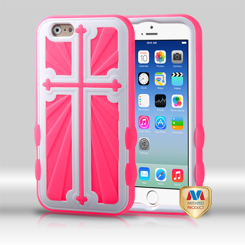 MyBat Cross Hybrid Protector Cover for Apple iPhone 6s/6 - Ivory White / Electric Pink