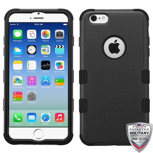 MyBat TUFF Hybrid Protector Cover [Military-Grade Certified] for Apple iPhone 6s/6 - Natural Black / Black