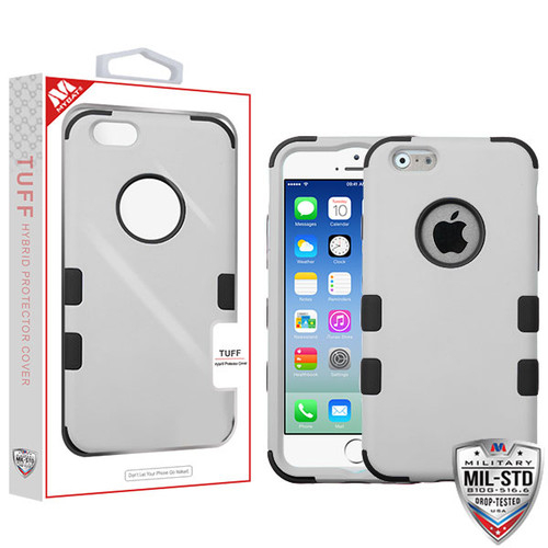 MyBat TUFF Hybrid Protector Cover [Military-Grade Certified] for Apple iPhone 6s/6 - Rubberized Gray / Black