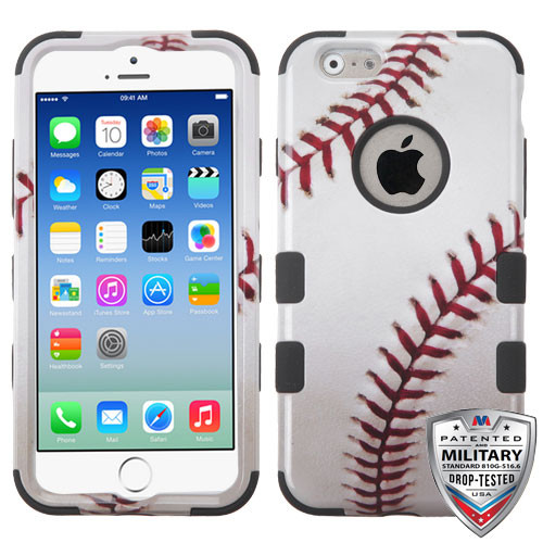 MyBat TUFF Hybrid Protector Cover [Military-Grade Certified] for Apple iPhone 6s/6 - Baseball-Sports Collection / Black
