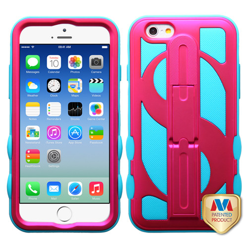 MyBat Dollar Hybrid Protector Cover (with Stand) for Apple iPhone 6s/6 - Titanium Solid Hot Pink / Tropical Teal