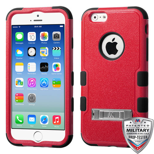 MyBat TUFF Hybrid Protector Cover (with Stand)[Military-Grade Certified] for Apple iPhone 6s/6 - Natural Red / Black
