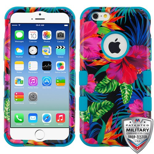MyBat TUFF Hybrid Protector Cover [Military-Grade Certified] for Apple iPhone 6s/6 - Electric Hibiscus / Tropical Teal