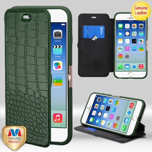 MyBat Crocodile - Embossed Genuine Leather NeoUrban MyJacket Wallet for Apple iPhone 6s/6 - Forest Green / Black