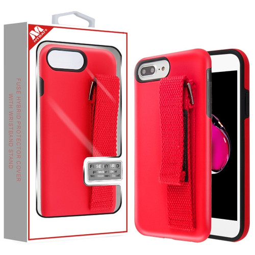 MyBat Fuse Hybrid Protector Cover (With Red Wristband Stand) for Apple iPhone 8 Plus/7 Plus - Rubberized Red / Black