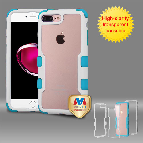 MyBat TUFF Vivid Hybrid Protector Cover for Apple iPhone 8 Plus/7 Plus - Natural Ivory White Frame+Transparent PC Back / Tropical Teal