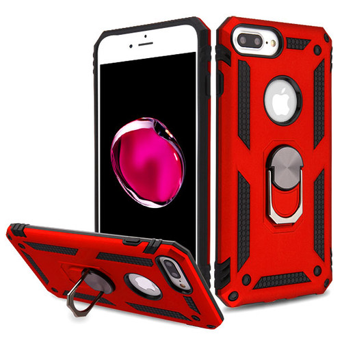 MyBat Anti-Drop Hybrid Protector Cover (with Ring Stand) for Apple iPhone 8 Plus/7 Plus - Red / Black