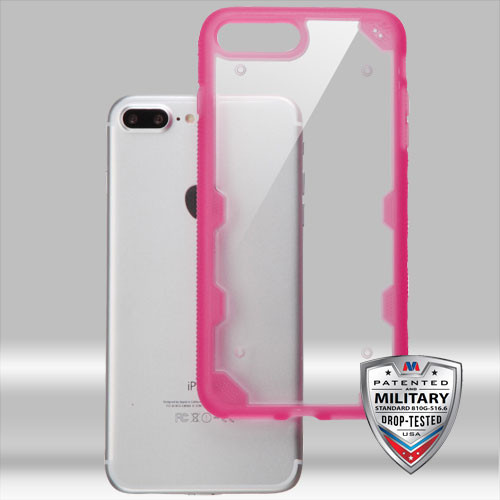 MyBat FreeStyle Challenger Hybrid Protector Cover [Military-Grade Certified] for Apple iPhone 8 Plus/7 Plus - Transparent Clear / Transparent Hot Pink