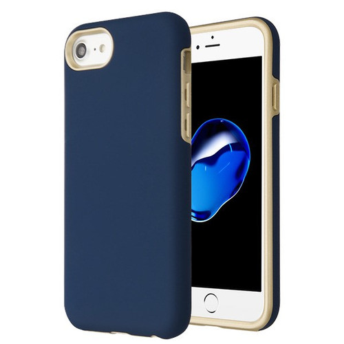 MyBat Fuse Hybrid Protector Cover for Apple iPhone 8/7 - Rubberized Ink Blue / Metallic Gold