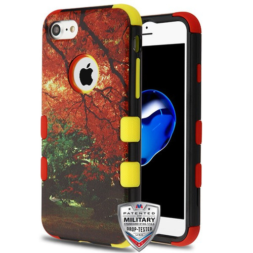 MyBat TUFF Hybrid Protector Cover [Military-Grade Certified] for Apple iPhone 8/7 - Fall Foliage / Red and Yellow