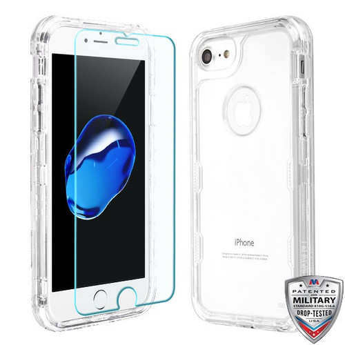 MyBat TUFF Lucid Plus Hybrid Protector Cover (Tempered Glass Screen Protector)[Military-Grade Certified] for Apple iPhone 8/7 - Transparent Clear / Transparent Clear
