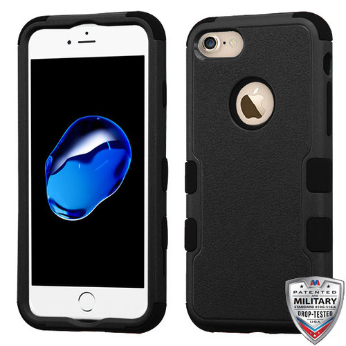 MyBat TUFF Hybrid Protector Cover [Military-Grade Certified] for Apple iPhone 8/7 - Natural Black / Black