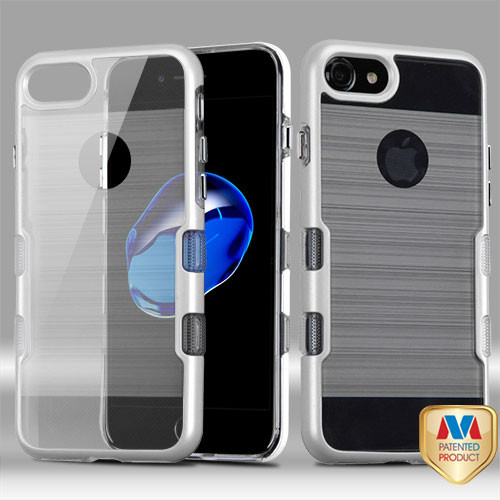 MyBat TUFF Brushed Panoview Hybrid Protector Cover for Apple iPhone 8/7 - Metallic Silver / Transparent Clear