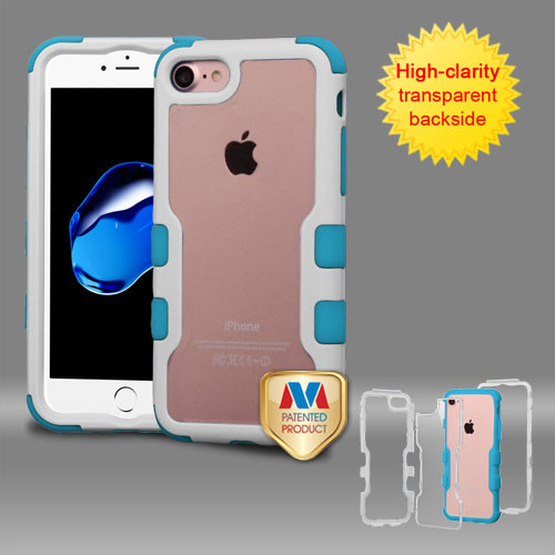 MyBat TUFF Vivid Hybrid Protector Cover for Apple iPhone 8/7 - Natural Ivory White Frame+Transparent PC Back / Tropical Teal